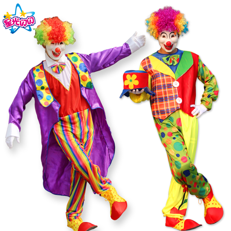 Halloween Costumes Adult Funny Circus Clown Costume Naughty Harlequin Uniform Fancy Circus Dress Cosplay Clothing for Men Women  ice cream cart toy