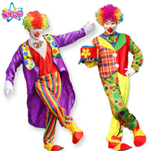 Costumi di Halloween Adulto Divertente Circo Clown Costume Naughty Arlecchino Uniforme Fancy Circus Dress Cosplay Abbigliamento per Uomo Donna