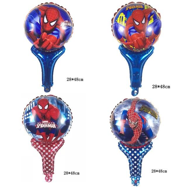 1psc hand-held Spiderman balões folha de alumínio balão do brinquedo das Crianças decoração da festa de aniversário crianças Suprimentos