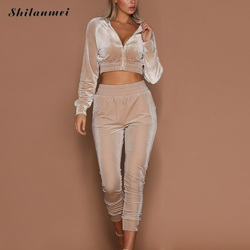 Good Quality Velvet Tracksuit Two Pieces Set Women Sexy Pink elasticity Long Sleeve Top And Pants Suit Fashion pink suit