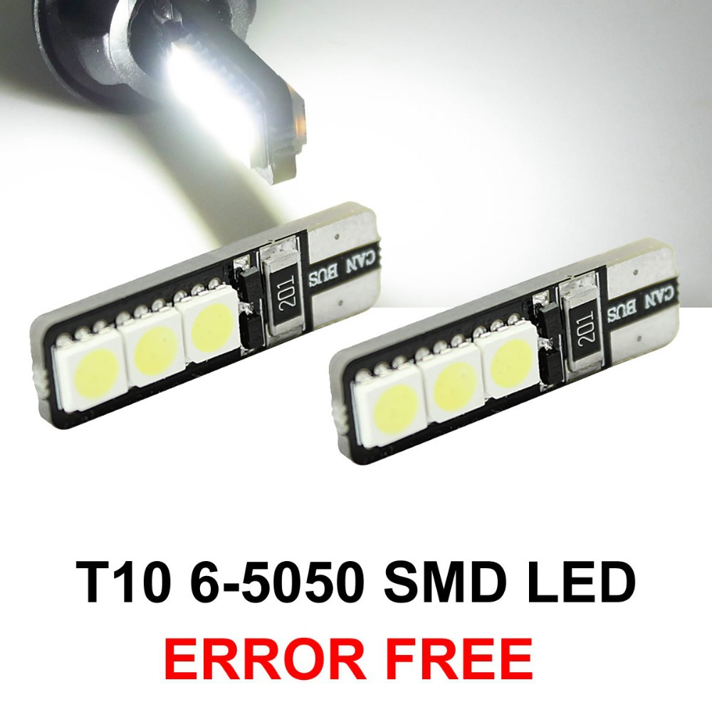 2pcs/lot Bright Double No Error T10 LED 194 168 W5W Canbus 6 SMD 5050 LED Car Interior Bulbs Light Parking Width Lamps 100pcs lot t10 5 smd 5050 led canbus error free car clearance lights w5w 194 5smd light bulbs no obc error white