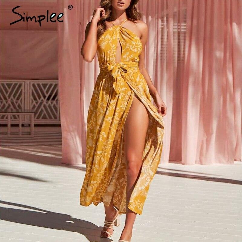 Simplee богемное летнее платье с цветочным принтом женское с высоким разрезом без спинки кружевное сексуальное платье длинное платье на брете...