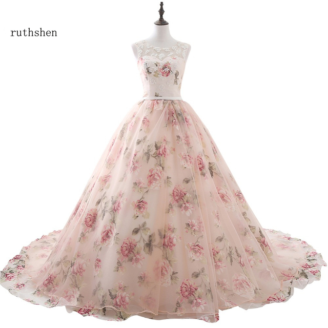 Ruthshen Impresso Floral Formal de Longos Vestidos de Noite Com Apliques de Renda Vestido de Baile Para As Mulheres Real Photo Robe De Soirée