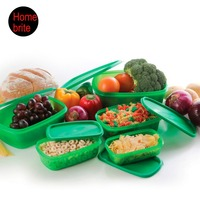 Green Plastic Food Storage Container Set Of 5 Fresh Refrigerator Storage Box Crisper Stackable Microwavable Reusable