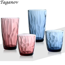 Drinking Water Glass 6 Pieces Home Colored Juice Glass Tea Drink 250 ml 300 ml 470 ml Creative Embossing Cup European Pink Blue цена