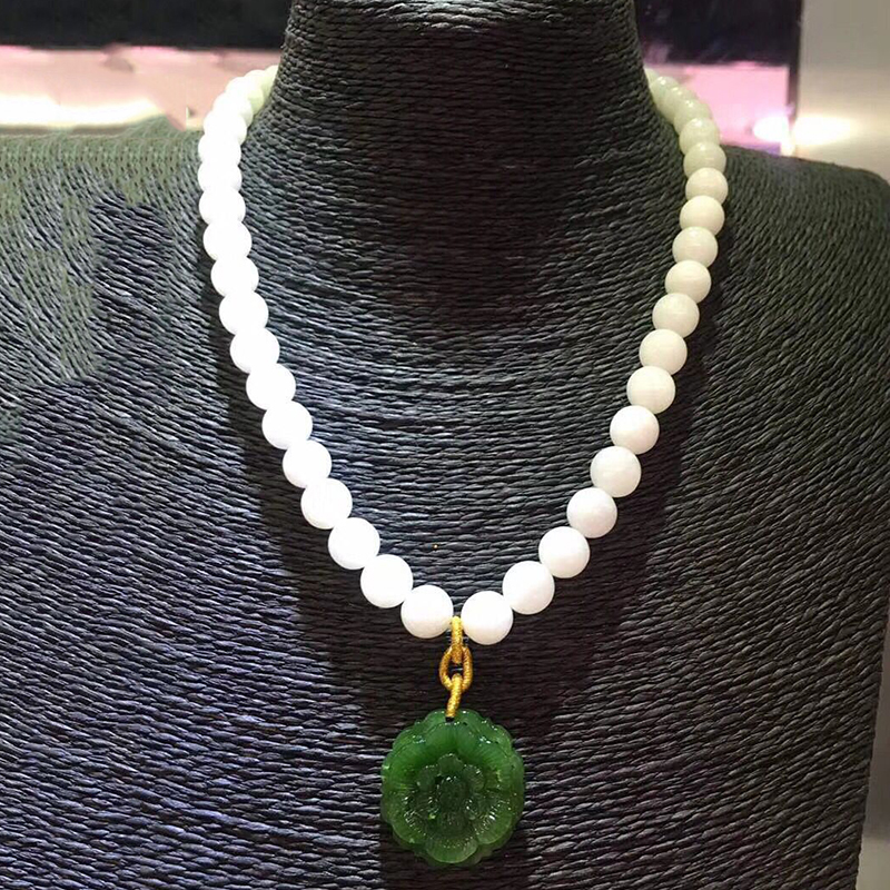 Fine White Hetian Natural Stone Necklace Carved Green Stone Flower Pendant Bead Sweater Chain Necklace Healthy for Women Jewelry fashionable women s bead designed ellipse sweater chain necklace