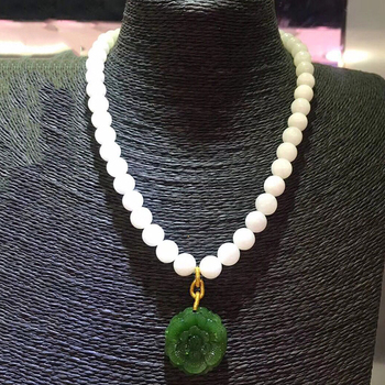 Fine White Hetian Natural Stone Necklace Carved Green Stone Flower Pendant Bead Sweater Chain Necklace Healthy for Women Jewelry