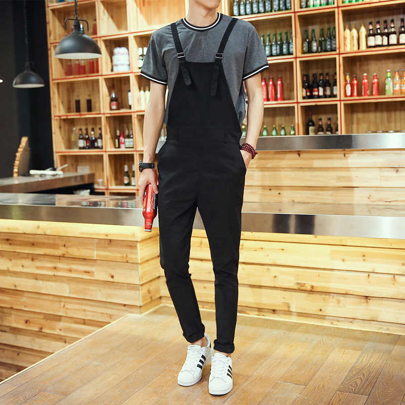 2019 Summer Men One Piece Ankle Length Skinny Jumpsuit Men Streetwear Cotton Bib Overalls Black Blue Casual Suspender Pants
