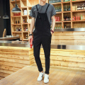 2016 New Arrival One Piece Long Jumpsuit Men Fashion Cotton Overalls Black Blue Size M-XXL