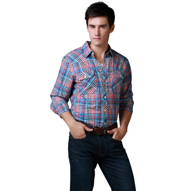b69728f8 Brand Western Shirts Men Long Sleeve Western Shirts Fashion 100%Cotton  Plaid US Size Washed Soft High Quality New Sales