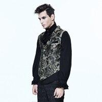 Steampunk Vintage Men's Waist Coat Embroidery Vest Retro Style Black Split Joint Wearing Party Dressing