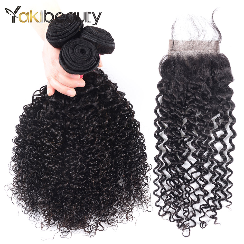 Yakibeauty Hair Afro Kinky Curly Weave Human Hair Bundles With Closure Peruvian Hair 3 Bundles With Closure Remy Hair Extension