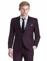Slim Fit Groomsmen Peak Lapel Groom Tuxedos Burgundy Mens Suits Wedding Best Man (Jacket+Pants+Tie+Hankerchief) B732