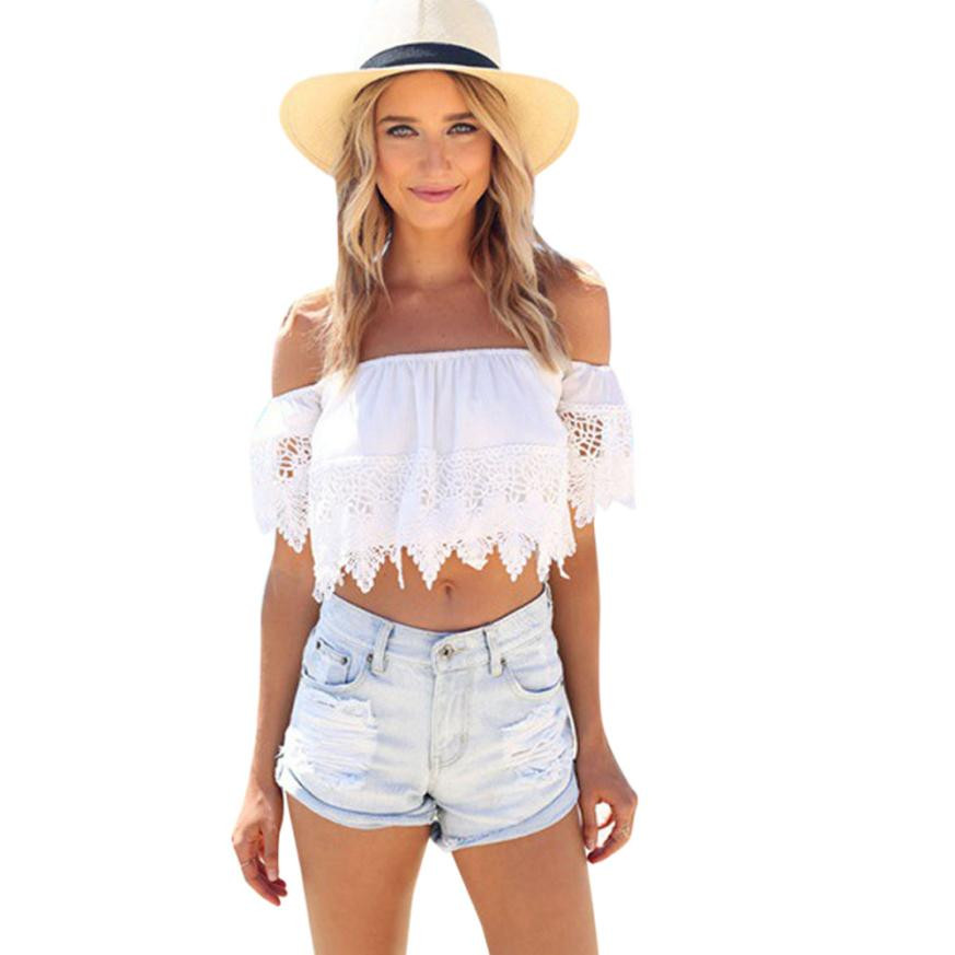 New coming lovely sexy fashion women boho lace white blouse off shoulder crop shirt tops sexy tops white crop top