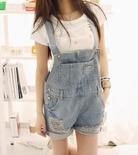 2017 Summer Style Women's Cute Denim Overalls Korean Casual Jumpsuits Loose Ripped Jeans Shorts With Pocket