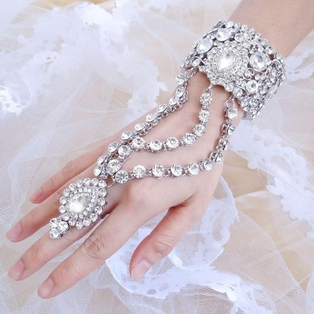 Bella Fashion Luxury Teardrop Bridal Bangle Ring Set Austrian Crystal Bracelet For Wedding Accessories