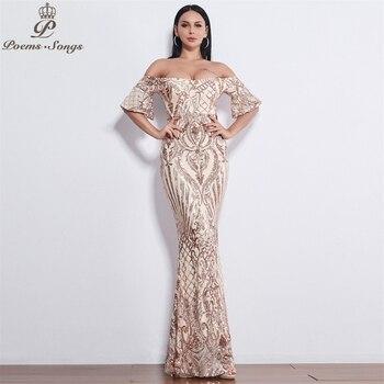 Poems Songs New Style elegant luxury Evening dresses long vestido de festa longo prom dress robe de soiree evening gowns 6