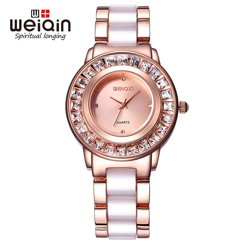 WEIQIN 2017 Women Watch Luxury Rhinestone Rose Gold Wristwatch Fashion Lady Dress Quartz Watches Female Clock Relogio Feminino swiss fashion brand agelocer dress gold quartz watch women clock female lady leather strap wristwatch relogio feminino luxury