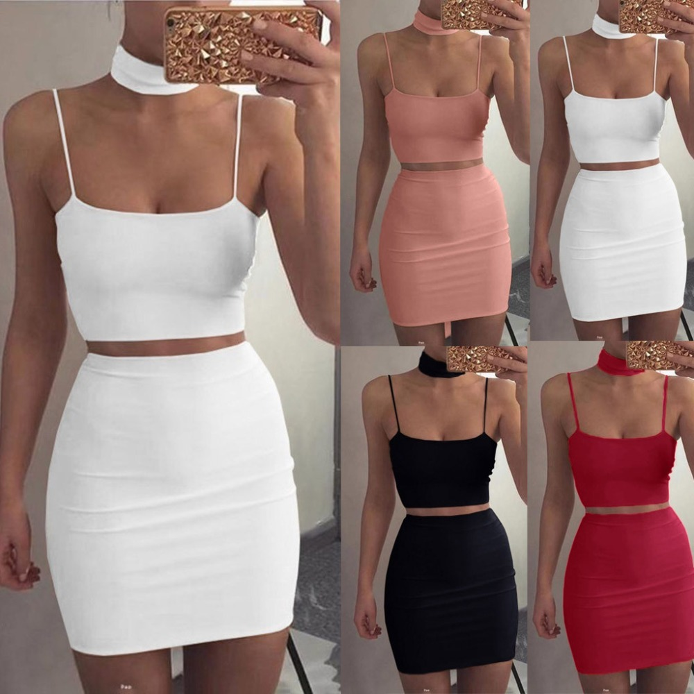 Women Summer Fashion Sexy Festival Clothing Two Piece Matching Sets Crop Top And Skirts Waist Bodycon Dress Suit  2019   X1