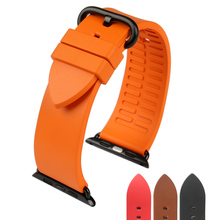 New fashion orange rubber sports watchbands for apple 42mm 38mm series 1 & 2 iwatch