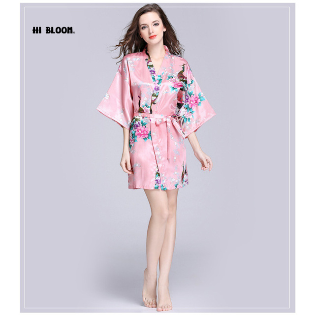 Brand Elegant Dress Night Grow For Bridesmaid Summer Silk Kimono Robe Bathrobe Women Satin Robe Loose Longue Femme For Women