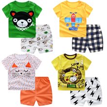 Plaid Baby Boy Clothes Summer New Aircraft Girl Clothing Set Cotton Suits Short Infant Kids DS19