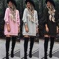 2016 Осень Женщины Толстовки Swearshirts Плюс Размер Случайные Свободные Сплошной Цвет Длинным Рукавом Женщины Длинные Капюшоном Пуловер Кофты Платье