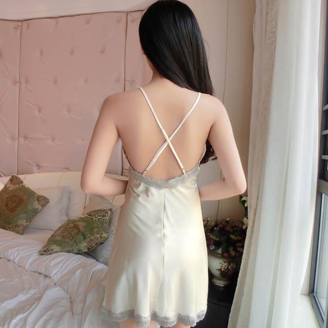 placeholder Ladis Sexy Silk Satin Nightdress Lace Nightgown V-neck  Sleepshirt Sleeveless Nighties Summer Sleep Dress df51b5ce2