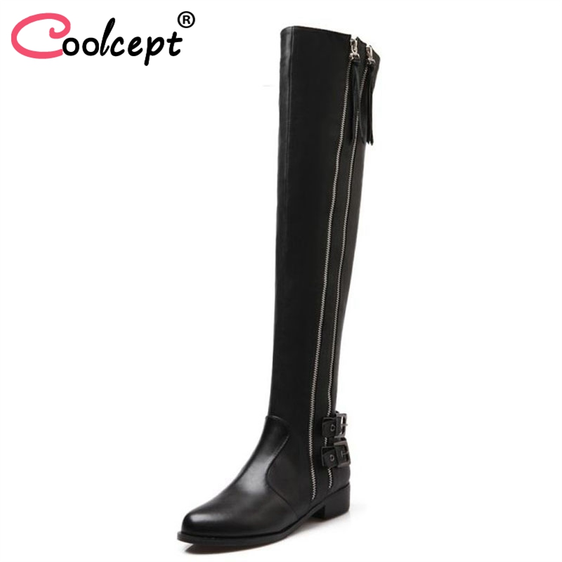 Women Genuine Real Leather Knee Boots Winter Boots Sexy High Heel Round Toe Zipper Fashion Buckle Women Boots Shoes Size 34-39 2017 big sale digital interactive whiteboard children board pen touch active projection screen teaching tools