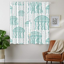 Blackout Curtains 2 Panels Grommet for Bedroom Cute Hand Drawn Jellyfish Rain