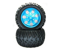 Free Shipping 4pcs HSP 1 10 RC Monster Truck Tires Tyres With Aluminium Alloy Wheel Hub