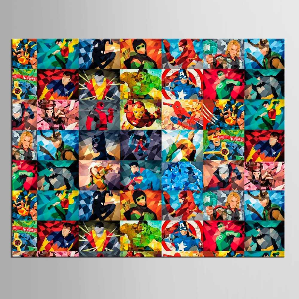 1 panel Pop Culture Lunch Atop a Skyscraper Funny Art Poster Print Hulk Batman Justice League Superhero Anime Wall