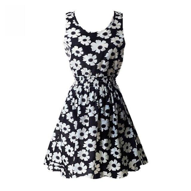 Fashion Summer Women Beach Chiffon Black Dress Sleeveless Sundress Sexy Ladies Floral Tank Party Evening Mini Dress M-XXL Hot 3