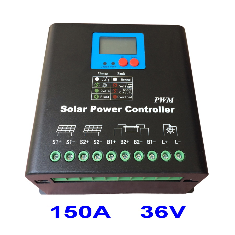 150A Solar Controller PV panel Battery Charge Controller Regulator 36V Solar System Home Indoor Use New