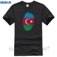 Slim Fit Short Sleeve Cotton Azerbaijan Flag Fingerprint Summer T Shirt Men Boys Fashion T Shirt