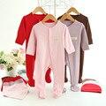 Macacão de bebê + chapéu + babadores conjunto de soft 100% algodão newborn body suit da longo-luva da menina e do menino infantil macacão roupa do bebê recém-nascido