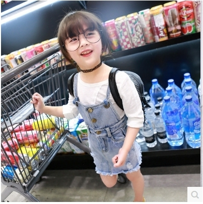 2016 Blue Denim Overalls Spring Summer Girls Denim Skirts Kids Girls Strap Denim Skirt Jeans