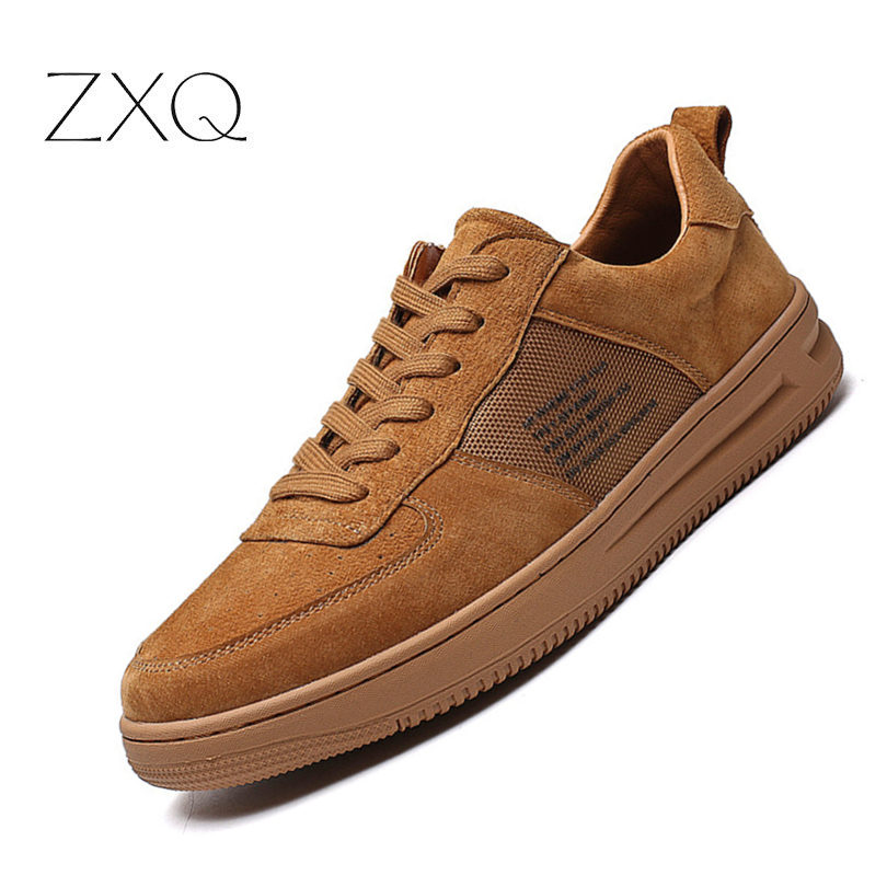 Brand Quality Men Genuine   Leather   Sneakers Lace Up No-Slip   Suede     Leather   Casual All Match Men Shoes
