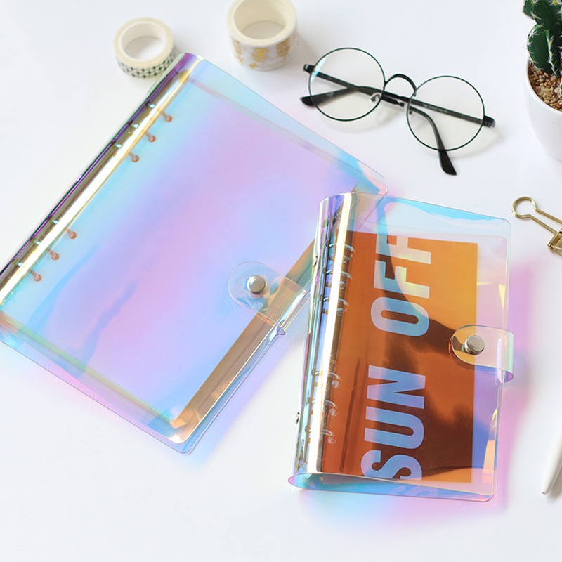 Creative PVC A5 A6 Laser Binder Loose Notebook Diary Cover Loose Left Note Book Planner Stationery School Office Supplies image