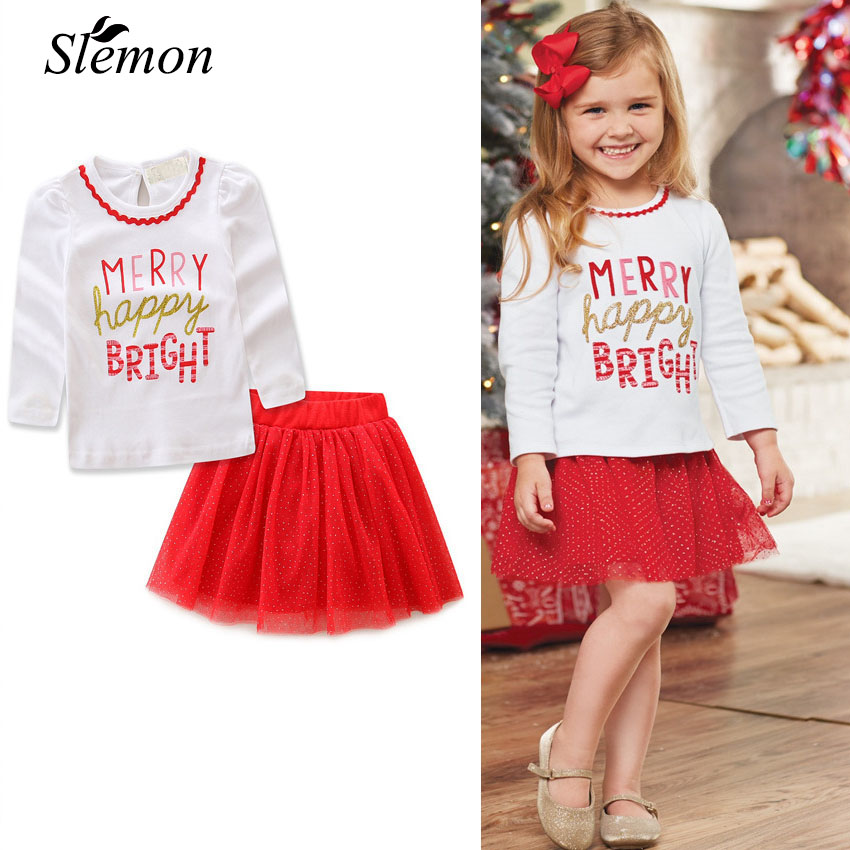 2018 Girls Xmas Clothes Sets Letter Print Long Sleeve Blouse + Gauze Sequins Skirts Christmas 2 Pcs Suits Toddler Girl Outfits letter print knot front top