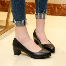 Professional dress women shoes black with ladies interview leather  comfortable work rough heel