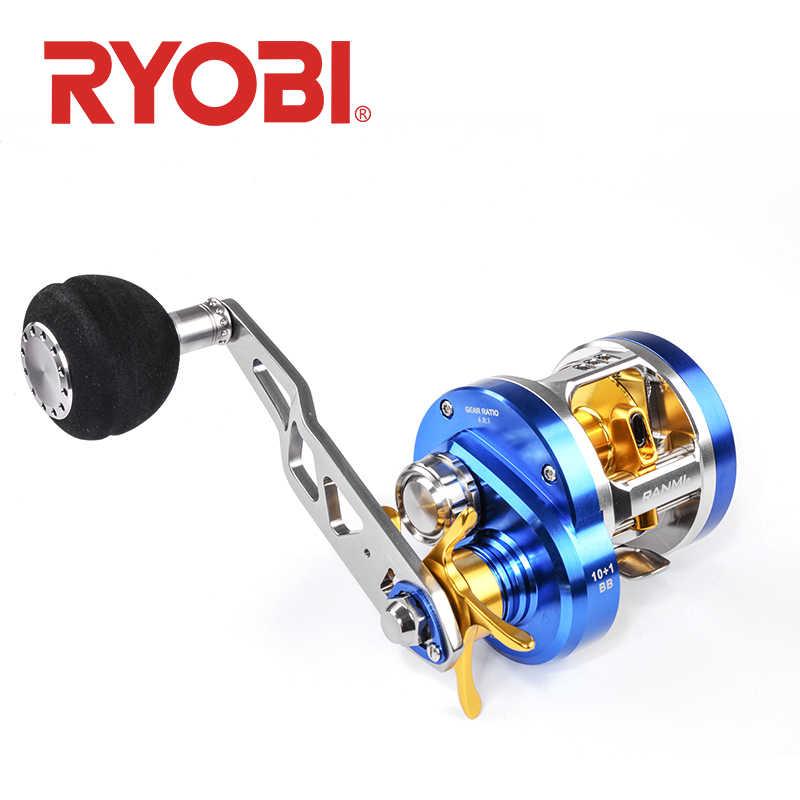 RYOBI RANMI بطيئة القفز اليسار/اليمين مقبض الصيد بكرة تصل إلى 12 كجم المياه المالحة في الشاطئ baitcast الصيد بكرة بكرات الصيد