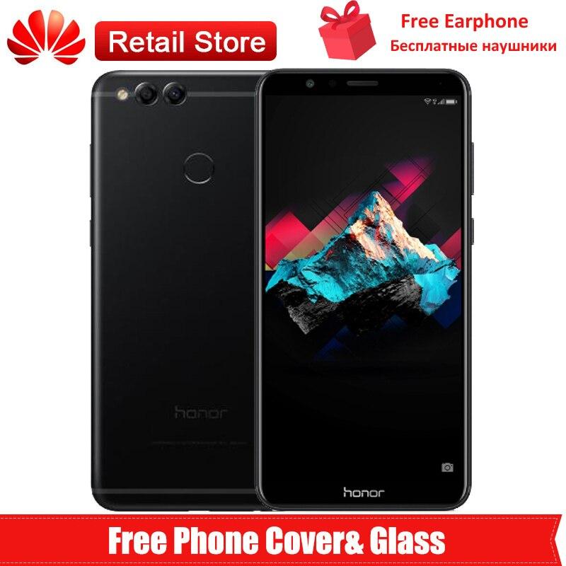 """Глобальная прошивка huawei Honor 7X 4G телефон 5,93 """"полный вид экран 2160*1080 Kirin 659 Android 7,0 Octa Core двойной сзади камеры ОТА"""