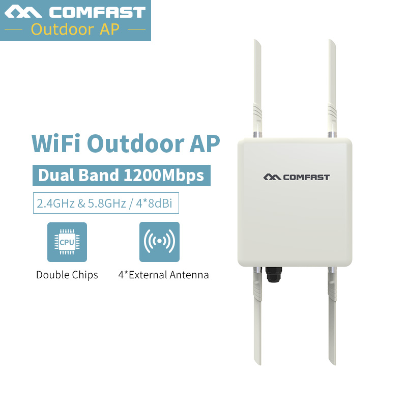 1200Mbps 48V PoE Outdoor AP CPE 802.11af at Dual Band 2.4G 5G Wireless Access Point WiFi Signal Booster 4*8db Detachable Antenna conception of patch antenna at wide band