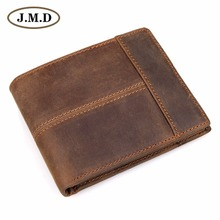 J.M.D Designer Crazy Horse Leather Mens Wallet ID Card Holder With Coin Pocket Durable Money Purse 8145