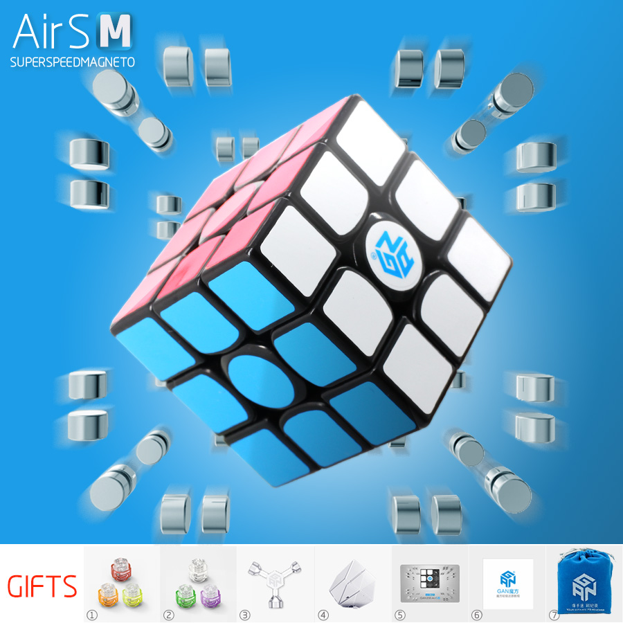<font><b>GAN</b></font> <font><b>356</b></font> <font><b>Air</b></font> <font><b>SM</b></font> Magnetic Magic Cube 3x3x3 Speed Profissional Puzzle Toy For Children With Magnetic Gift GES <font><b>v2</b></font> Stickers image