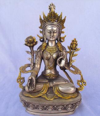 Metal Crafts Tibetan silver gilt Buddha statue/High 8inch Buddhism Folk Silver Statue  Tibetan Silver Bronze decoration