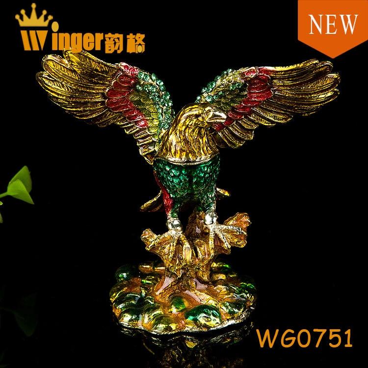 Promotion Fengshui Eagle Trinket Box Home Decoration Collectible Vintage Antique Souvenir Pewter Figurine Metal Crafts