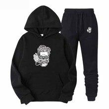 2019 2 PC Hoodies Homens Primavera Outono Forro de Lã Camisolas Com Capuz + Calça Moletom Masculino Marca Streetwear Sólida Q