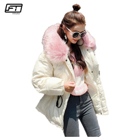 Fitaylor Hooded Big Fur Black Cotton Parka Mujer 2017 Casual Loose Winter Jacket Women Thick Warm